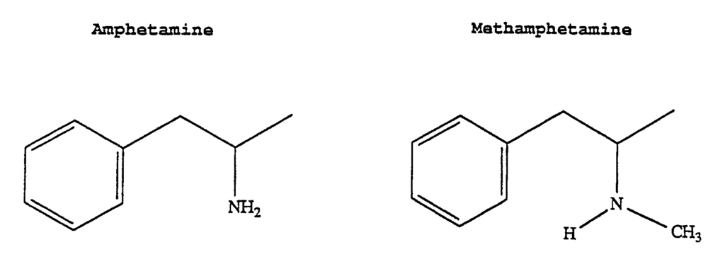 Figure showing the differences between Amphetamine and Methamphetamine