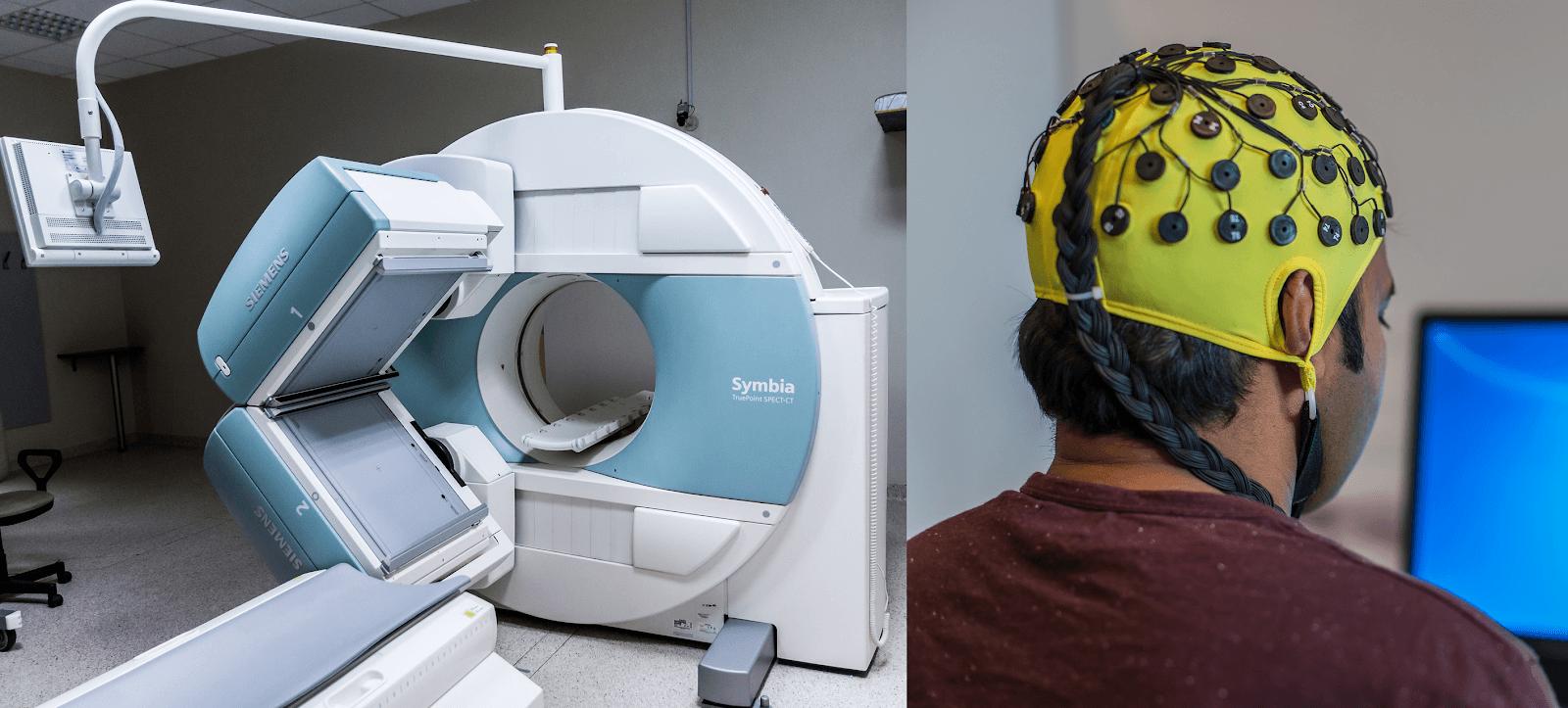 Figure 1: an MRI (left) and an EEG (right)